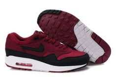U834o Nike Air Max 1 Men's Running Shoe Maroon Black-White