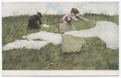 A postcard from the Detroit Publishing Company depicts women laying out picnic…