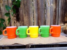 Vintage 1960s Anchor Hocking Stackable Mugs - Yellow Green Orange - Retro - Mid Century - Rainbow - Kitschy Kitchen