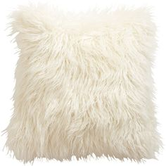 Ethan Allen Ivory Faux Fur Pillow found on Polyvore
