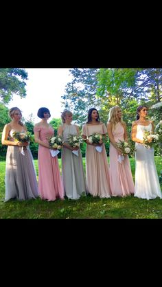 Bridesmaid colors summer wedding Farm weddings Outdoor weddings Blush neutral colors