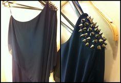 Mini-abito blu #Zara con #borchie #minidress