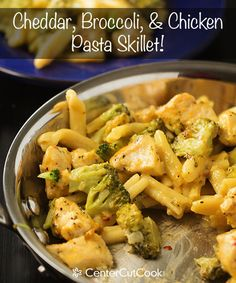 """Cheddar Broccoli and Chicken Skillet """"One skillet Cheddar, Broccoli and Chicken Pasta! The pasta cooks in the same skillet as everything else… one pot, easy, delicious!"""""""
