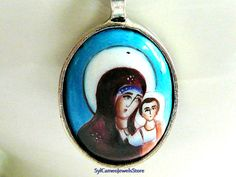Handpainted Mary and Child Cameo Pendant & Necklace Original