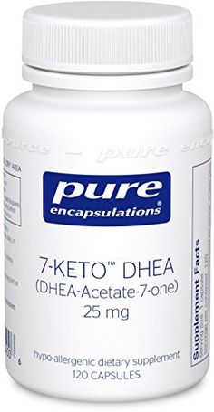 Pure Encapsulations - 7-KETO DHEA (DHEA-Acetate-7-One) 25 mg. - Unique DHEA Metabolite - Hypoallergenic Dietary Supplement - 120 Capsules -- More info could be found at the image url.