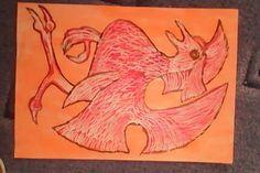 pták - vodovky + voskovky / bird - watercolours + wax crayon