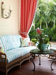 Turquoise stripes, salmon colored drape, gorgeous with the greens outside!