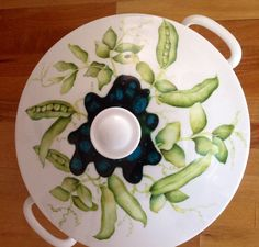 Hand painted peas on china by mark jones