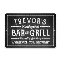Gracie Oaks Personalized Chalkboard Look Brew and BBQ Metal Wall Décor Plate Wall Decor, Metal Wall Art Decor, Wall Decor Set, Tree Wall Decor, Plates On Wall, Whiskey Room, Home Wet Bar, Metal Grill, Patio Signs