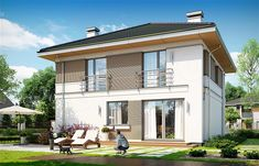 Zdjęcie projektu Tytan 4 WAH1681 6 Bedroom House Plans, House Elevation, Architect House, Istanbul, Sweet Home, Villa, House Design, How To Plan, Mansions