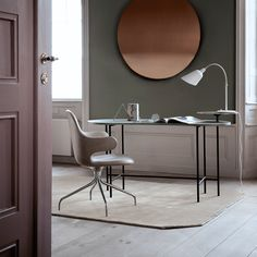 Upgrade your home office Home Office, Farrow Ball, Palette Table, Desk Styling, Circular Mirror, Grey Desk, Arne Jacobsen, Modern Bathroom Design, Minimalist Living
