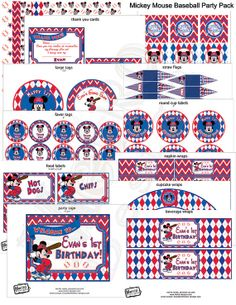 Mickey Mouse Baseball Budget Party Package  Digital by MetroEvents, $16.98