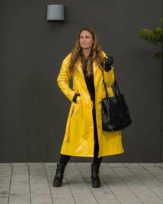 Rainwear From Sweden - When you are shopping, wear a . Vinyl Raincoat, Pvc Raincoat, Yellow Coat, Yellow Raincoat, Raincoats For Women, Jackets For Women, Imper Pvc, Rain Bonnet, Long Leather Coat