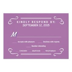 Orchid Eat Drink & RSVP Rustic Wedding Reply Invitations