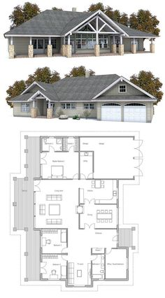 Craftsman style home in one level. Four bedrooms, two living areas, covered terrace.