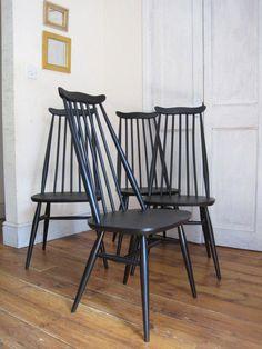 Vintage Retro Four Black Ercol Windsor Goldsmith #369 Set Dining Chairs 4 | eBay