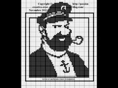 héros-cartoon-bd - tintin et milou - capitaine  - point de croix - cross stitch - Blog : http://broderiemimie44.canalblog.com/