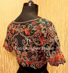 Gorgeous teal green color designer blouse with floret lata design hand embroidery thread and cut work. New designs are in for the season! Teal green with multicolor cutwork by YUTI!For Price and Other details reach at or Whatsapp: 09 August 2018 Blouse Back Neck Designs, Fancy Blouse Designs, Bridal Blouse Designs, Cut Work Blouse, Hand Work Blouse Design, Chennai, Embroidery Designs, Hand Embroidery, Embroidery Blouses