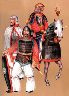Northern and Southern Dynasties Period, circa 420-588 AD. Armor of Southern & Northern Dynasty Warriors. This painting depicts the body armor typical of soldiers and cavalrymen of the Southern & Northern Dynasties. Note that the horse is also attired in armor.