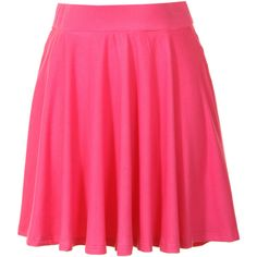 Hot Pink Jersey Skater Skirt ($13) ❤ liked on Polyvore featuring skirts, pink, flared skirt, pink skirt, elastic waist skirt, pink circle skirt and jersey skirt
