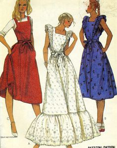 Items similar to Vintage McCalls 7182 UNCUT Misses Jumper or Apron with Optional Ruffles Sewing Pattern Size 12 Bust 34 on Etsy Vintage Dress Patterns, Dress Sewing Patterns, Clothing Patterns, Vintage Dresses, Vintage Outfits, 80s Fashion, Fashion History, Korean Fashion, Girl Fashion
