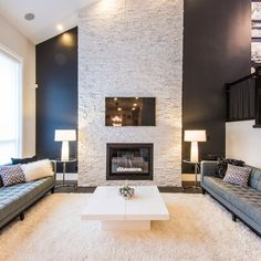 Surrey house - contemporary - Living Room - Vancouver - Douglas Williams Photography Love the fireplace stone