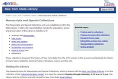 New York State Library - Manuscripts and Special Collections http://www.nysl.nysed.gov/mssdesc.htm