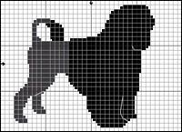 Portugisisk Vattenhund Dog Chart, Cross Stitch Patterns, Knitting Patterns, Portuguese Water Dog, Charts And Graphs, Dog Pattern, Bargello, Plastic Canvas Patterns, Christmas Stocking