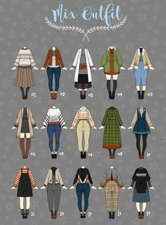 (OFFEN Lässiges Outfit Nimmt 05 von Rosariy an - Doll dress ideas - kleidung Winter Outfits, Casual Outfits, Casual Clothes, Diy Clothes, Kleidung Design, Mode Kpop, Drawing Anime Clothes, Clothing Sketches, Fashion Vocabulary