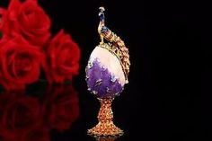 Peacock Purple Faberge Russia Eggs Jewerly Trinket Box Figurine Home Display Vintage Easter Egg Magnet Metal Crafts  #Peacock #PurpleFaberge #RussiaEgg #EggsJewerly #TrinketBox #FigurineEgg #HomeDisplay #VintageEgg #EasterEgg #MagnetEgg #MetalCrafts #ebay