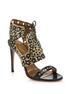 Aquazzura - Rebel Studs Cheetah-Print Calf Hair & Leather Sandals<br>