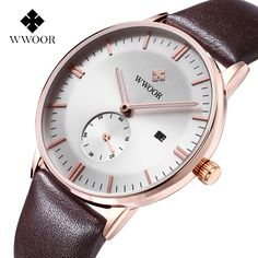WWOOR 8808 Simple Dial Leather Band Quartz Watch for Men Price $17.66