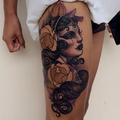 Amazing upper leg tattoo by Emily Rose Murray She is amazing- I love all her work!