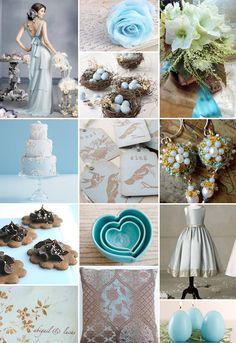 OK LOVE this! The top left dress or the bottom dress are both SO pretty for bridesmaids dresses, I used a birds nest for my rings to be carried in and used bird cages as center pieces because they are cheaper than flower arrangements, are large enough, and can be used as decorations at home later. :)
