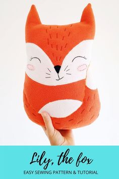 Fox plush pattern & tutorial for experienced beginners, Christmas gift idea kids will love. 12 page PDF with the template, instant download, and detailed step by step photo sewing tutorial. Measurements in inches and centimeters. Included an explanation of all embroidery stitches used and some tips & tricks for sewing stuffed toys. Easy, simple, cute stuffed toy, kids will love, especially, because it will come from you. Happy sewing! :) Fox Stuffed Animal, Stuffed Animal Patterns, Animal Sewing Patterns, Easy Sewing Patterns, First Sewing Projects, Fox Toys, Reading Pillow, Plush Pattern, Cute Fox