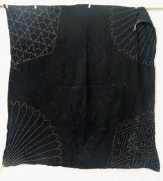 "Japanese Vintage Indigo Dyed Cotton Sashiko Hand Stitch Furoshiki Boro 46 x 47"" | eBay"