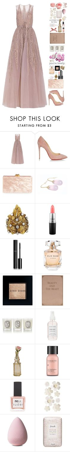 """""""Untitled #425"""" by pinkandgoldsparkles ❤ liked on Polyvore featuring Elie Saab, Christian Louboutin, Edie Parker, Buccellati, MAC Cosmetics, Chanel, Bobbi Brown Cosmetics, Diptyque, Cultural Intrigue and Perricone MD"""