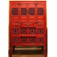 Antique Asian Chinese Furniture, Cabinet, Tall Red 4 door 3 drawer Kitchen / Vegetable Cabinet
