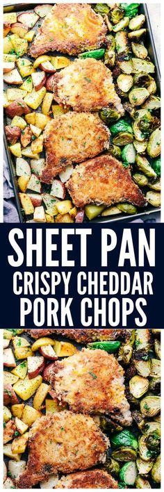 Sheet Pan Crispy Cheddar Pork Chops are an easy to make dinner using one sheet pan. Crispy and cheesy coated pork chops cook to tender perfection with roasted potatoes and brussels sprouts. This is one unforgettable meal!