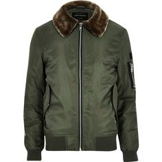 River Island Green faux fur collar aviator jacket ($78) ❤ liked on Polyvore featuring men's fashion, men's clothing, men's outerwear, men's jackets, jackets, green, tall mens jackets, mens nylon jacket and mens green jacket