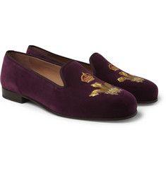 Stubbs & WoottonEmbroidered Velvet Slippers