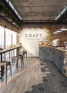 #interiordesign #дизайнинтерьера #cg #archviz #3d #renderbox #loftinterior #craftcoffeebar #кофебар #Hexagon #amazing #coronarenderer