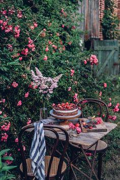 Chocolate Cherry Cake, Raindrops And Roses, Gluten Free Chocolate, Recipe For Mom, Sans Gluten, Vegan Recipes Easy, Dream Garden, Outdoor Dining, Garden Inspiration
