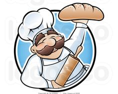 Illustration about Happy baker cartoon character presenting a freshly baked loaf of bread. Illustration of mustache, loaf, cute - 19626104 Bakery Logo Design, Food Logo Design, Baker Logo, Foto Transfer, Kawaii Doodles, Cartoon Stickers, Cute Clipart, Free Logo, Kitchen Art