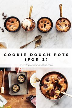 Gooey Chocolate Chip Cookie Pots (for - vegan option - Izy Hossack - Top With Cinnamon Gooey Chocolate Chip Cookies, Gooey Cookies, Buttery Cookies, Chocolate Chips, Best Vegan Chocolate, Vegetarian Chocolate, Chocolate Recipes, Vegetarian Cookies, Vegan Sweets
