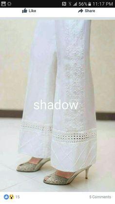 Idea for adding length to too-short pants Salwar Pants, Lehenga, Salwar Designs, Desi Clothes, Designs For Dresses, Pants For Women, Clothes For Women, Pakistani Outfits, Pants Pattern