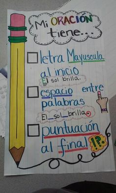 Sentence checklist anchor chart spanish Dual Language Classroom, Bilingual Classroom, 2nd Grade Classroom, Bilingual Education, Spanish Classroom, Kindergarten Anchor Charts, Kindergarten Writing, Kindergarten Activities, Spanish Activities