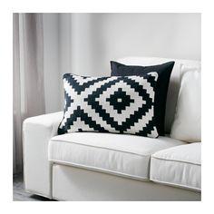 LAPPLJUNG RUTA Cushion cover, white, black