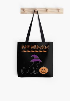 Halloween Witch Cat and Pumpkin Tote Bag #cats #halloween #pumpkin #witch #animals