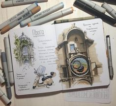 Travel Journal. Interior Design Architecture and Travel Journals Drawings. By Ekaterina Surikat.